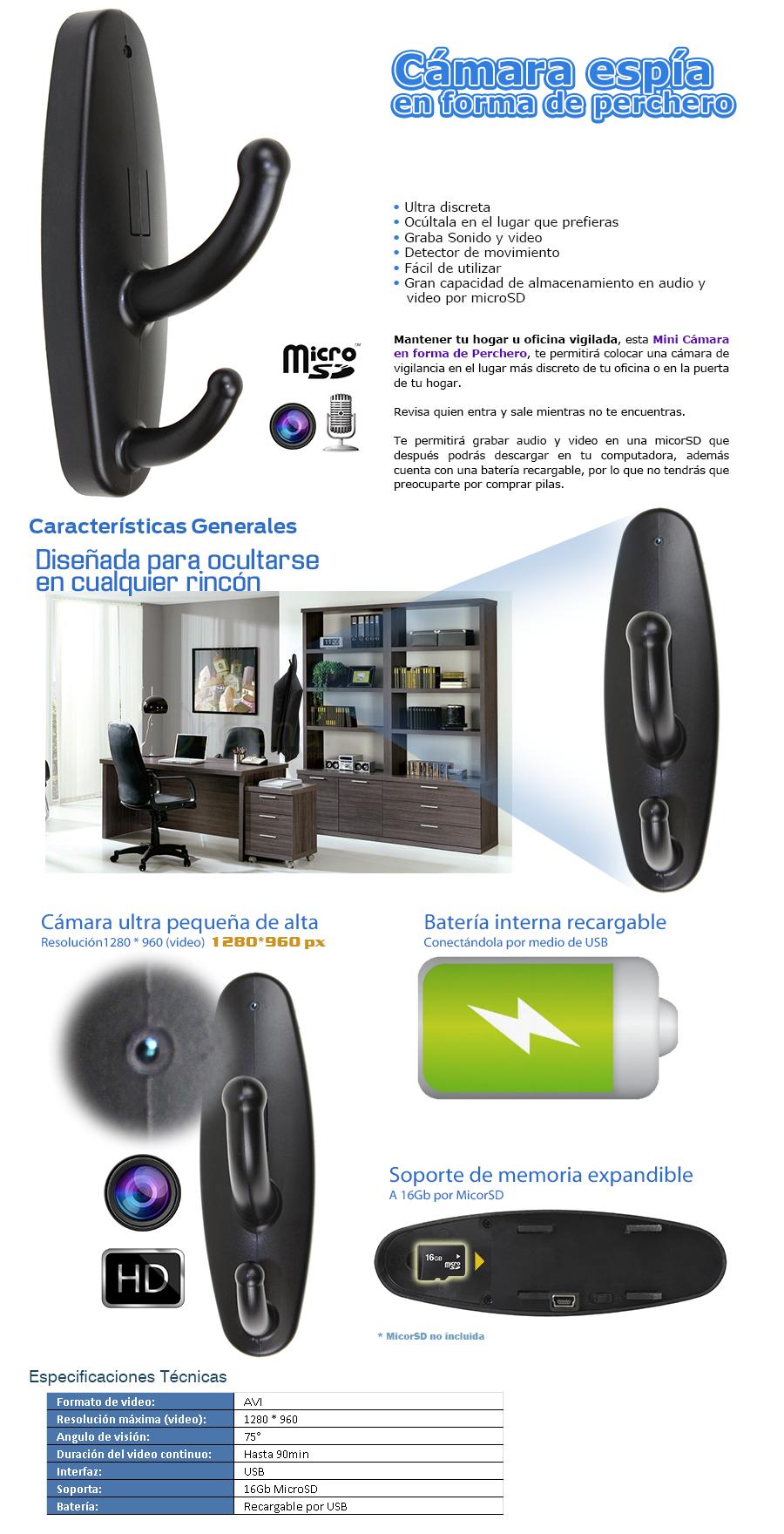C mara esp a perchero video hd audio recargable micro sd for Gancho tipo perchero