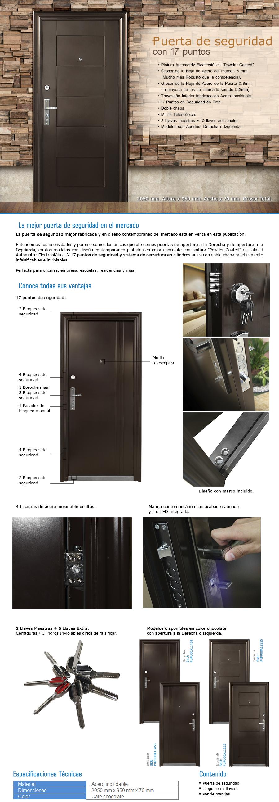 Puerta De Seguridad Acero Casa Departamento Oficina 7 Llaves  # Muebles Mezquitic Saltillo